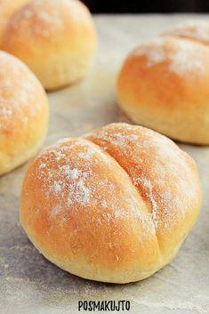posmakujto!   Bułki z przedziałkiem Bread Rolls, Hamburger, Sandwiches, Food And Drink, Baking, Cake, Kitchen, Diy, Recipes
