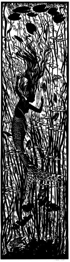 SCHERENSCHNITTE (scizzorcut from one single sheet of black paper) This is not a relief print although it looks like one because it's reproduced here digitally.