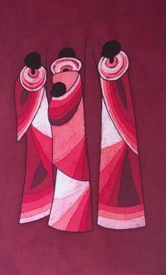 """Sharing Knowledge"" Batik Painting by Ugandan Artist, Lukandwa Dominic #Uganda #Art"