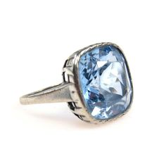 Belle Epoque Blue Topaz Sterling Silver Ring 14.7 Cts
