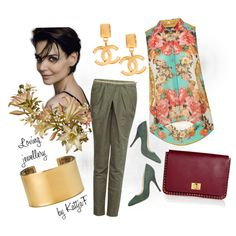 """Gold earrings, cuff bracelet, khaki & flowers"" by kattjaf on Polyvore"