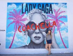 Lady Gaga Coachella mural outside of Carrera Cafe on Melrose Avenue, LA
