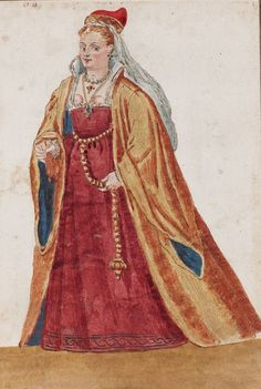 The Dogaressa (the Doge's Wife), The Venetian Woman in 'Mores Italiae,' 1575, Unknown Artist, Beinecke Rare Book and Manuscript Library, Yale University,  http://realmofvenus.renaissanceitaly.net/wardrobe/moresitaliae.htm