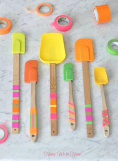 Washi Tape Kitchen Spatulas DIY