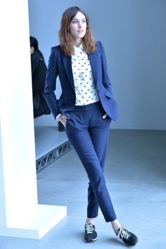 A cool blue suit got paired with a spirited shirt at the Calvin Klein show.