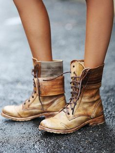 """This boot is a beauty! Rugged meets rebellious with the ROANNE. Take a walk on the wild side with a boot that gets attention. Fold the leather upper down for cool alternative styling . Rich full grain leather • Cap toe style, stitched leather upper • Goodyear leather welted sole • 1"""" heel • Made in Mexico"""