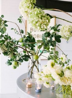 spring tabletop // hydrangeas + citrus tree