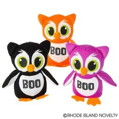 """5.25"""" HALLOWEEN OWLS Hoo-hoo who's got the cutest Plush Halloween Owl? You do! These cuddly birds make great goody bag stuffers or game prizes for your next Halloween party. Leave them out on tables or use as decorations. Assorted colors. Ages 5+ #halloween #trickortreat #owls #boo"""
