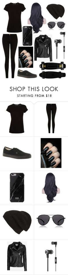 """Black is my happy color"" by doctorwhofl ❤ liked on Polyvore featuring Vince, Current/Elliott, Vans, Native Union, Phase 3, The Row, IRO, JBL, women's clothing and women's fashion"
