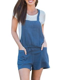 332c9d20aac This cotton romper is so much fun! It s overalls  romper combo look is too  perfect for spring and summer! Plus
