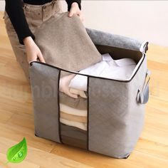 📦Organizing is easy with these Light-weight Bamboo Organizing Bags!  ✅Store Bedding Clothes, Toys & More!💪