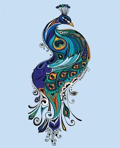 Peacock on Blue 11 x 14 Print by GreenGirlCanvas on Etsy