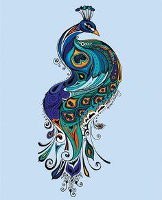 "Peacock on Blue - 11"" x 14"" Print"