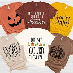 Fall into Autumn with a Soft Fall-inspired Bella Unisex Tee Fall Shirts, Cute Shirts, Funny Shirts, Beauty And Fashion, Vinyl Shirts, Hello Autumn, Diy Shirt, Personalized T Shirts, Halloween Shirt