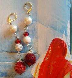 FIRE AGATE BALLS and Fresh Water Pearl Earrings dangles long