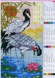 birds in sunrise water scene Cute Cross Stitch, Cross Stitch Bird, Beaded Cross Stitch, Cross Stitch Borders, Cross Stitch Animals, Cross Stitch Flowers, Cross Stitch Charts, Cross Stitch Designs, Cross Stitching