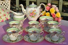 Salisbury Vintage Green Banded Floral Tea or Coffee Set