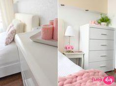Malowanie mebli z okleiny – co, jak i czy warto? Metamorfoza sypialni - Twoje DIY Floating Nightstand, Painted Furniture, Diy And Crafts, Table, Room Ideas, Design, Home Decor, Floating Headboard, Interior Design