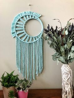 "shop: Macrame dream catcher // halfmoon crescent dream catcher // square knot pattern // ""NIA"" Excited to share this item from my Macrame Design, Macrame Art, Macrame Projects, Macrame Knots, Macrame Wall Hanging Patterns, Macrame Plant Hangers, Macrame Patterns, Diy Arts And Crafts, Diy Crafts"