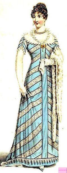1811 Evening Full Dress, English.   Aqua blue and silver dress with white shawl collar and matching shawl. Fashion Plate via John Belle's La Belle Assemblee Magazine, London.  suzilove.com