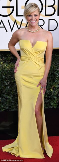 """Slink into a strapless dress like Reese in Atelier Versace Click """"Visit"""" to buy #DailyMail"""