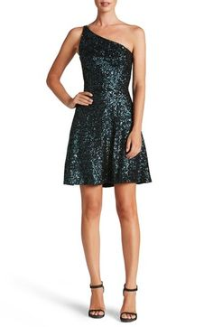 fb4810221b3 Main Image - Dress the Population Tina One-Shoulder Sequin Fit   Flare Dress