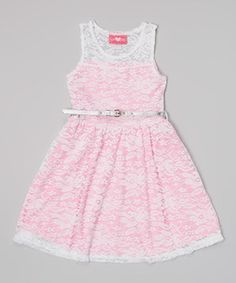 Another great find on #zulily! Fuchsia Lace Belted Dress - Toddler & Girls by Girls Luv Pink #zulilyfinds