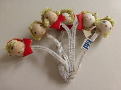 Vintage Spun Cotton  Christmas Carol Head Ornament Picks NOS by papertales on Etsy