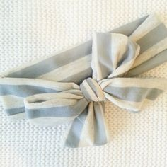 Gray Striped Big Baby Bow Headwrap, Infant headwrap, baby girl headwrap toddler girl headwrap.