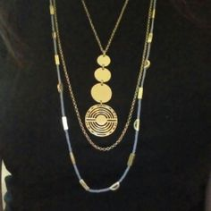 Lucky Brand Layered Moon Necklace Gorgeous! Long Layered Statement Necklace. Will look so Cool with a Long Sweater.  A definite Timeless Piece that you will get Complimented on often! The String with Half Moons is a Gray/Blue and the Metal is a Bronze Gold. Lucky Brand Jewelry Necklaces