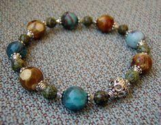 Earthy Mixed Gemstone Stretchy Bracelet