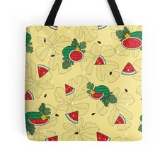 Watermelon inspired seamless pattern on tote bag and many more