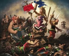 "Called ""Impedimenta Leading the Gauls"", this is illustrator Albert Uderzo's parody of Eugène Delacroix's ""Liberty Leading the People"""