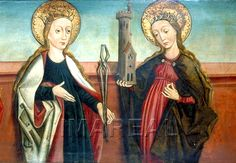 Hl. Apollonia; Hl. Barbara 1460-1510; Bardejov; Slowakei; Pfarrkirche St. Ägidius  http://tarvos.imareal.oeaw.ac.at/server/images/7012277.JPG