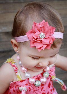 Baby Headband - Flower Headband -  Pink Flower Headband