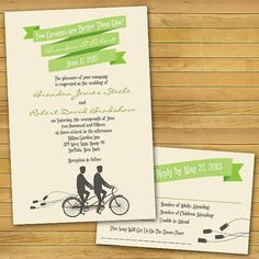 "Bicycle Built For Two Same-Sex Wedding Invitations: ""Two Grooms Are Better Than One"" by InviGAYtions"