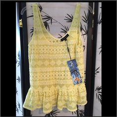 adorable peplum Yellow Top by Young Threads ~NEW adorable peplum Yellow Top by Young Threads ~NEW with tags ~ size M ~ lace detail ~ supper cute with jeans or a skirt for a bohemian style  Young threads Tops Tank Tops