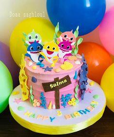 Baby shark by Doaa zaghloul - cake by Doaa zaghloul Toddler Birthday Cakes, Shark Birthday Cakes, Girl 2nd Birthday, Birthday Cake Decorating, Birthday Cake Girls, Birthday Ideas, Smash Cake Girl, Girl Cakes, Shark Cupcakes