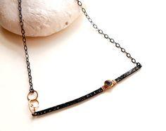 Minimalist style bar Necklace Black bar Necklace by EverywhereUR, $85.00