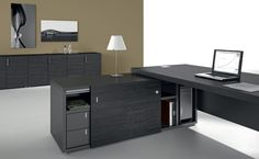 This executive desking range incorporates a supporting return with integral sliding and open storage. Office Themes, Office Furniture, Corner Desk, Contemporary, Storage, Interior, Projects, Room, Lead Time