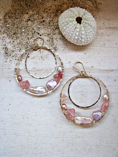 Hey, I found this really awesome Etsy listing at https://www.etsy.com/listing/201695680/gemstone-gold-hoops-hawaii-pearl-hoops
