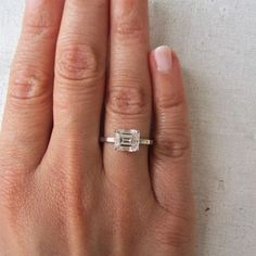 Engagement Ring Modern Horizontal Emerald Cut Diamond Engagement ...