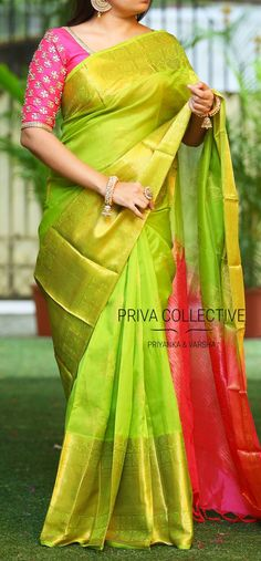 PV 3483 : Green kuppadam sariPrice : RS 7200Green coloured kuppadam silk sari with gold zari and pink palluUnstitched blouse piece - Pink running blouse piece /Pink maggam work blouse as shown in the picture is available at additional priceFor Order 13 September 2017