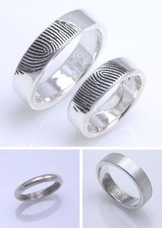 alianzas de boda con grabado de huella dactilar   joyas 100% personalizadas
