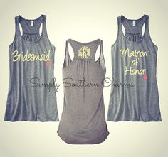 3 Personalized Wedding Party Flowy Racerback Tank Tops, Bridesmaid Shirts, Bachelorette Party Tank Tops, Maid of Honor Shirt, Bride Tank Top on Etsy, $84.00