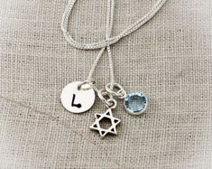 Personalized Hand Stamped Jewelry Custom by TracyTayanDesigns #tracytayandesigns #starofdavidnecklace #batmitzvahgifts #giftsforher