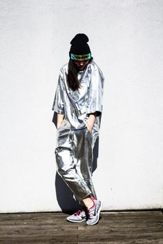 Susie Bubble wearing Pushbutton