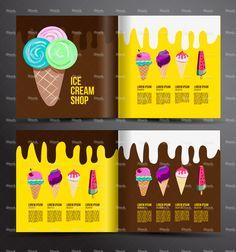 Ice cream brochure design. Menu for ice cream shop. Food Graphic Design, Menu Design, Food Design, Banner Design, Design Art, Ice Cream Menu, Ice Cream Logo, Vegan Ice Cream, Ice Shop