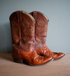 Vintage Whiskey EEL Skin BROWN Justin Cowboy Boots Size 9 1/2D by heightofvintage, $70.00