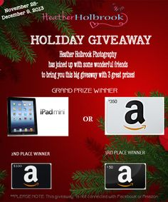 Giveaway over at Heather Holbrook Photography! Check it out. https://www.facebook.com/HeatherMHolbrookPhoto/app_228910107186452